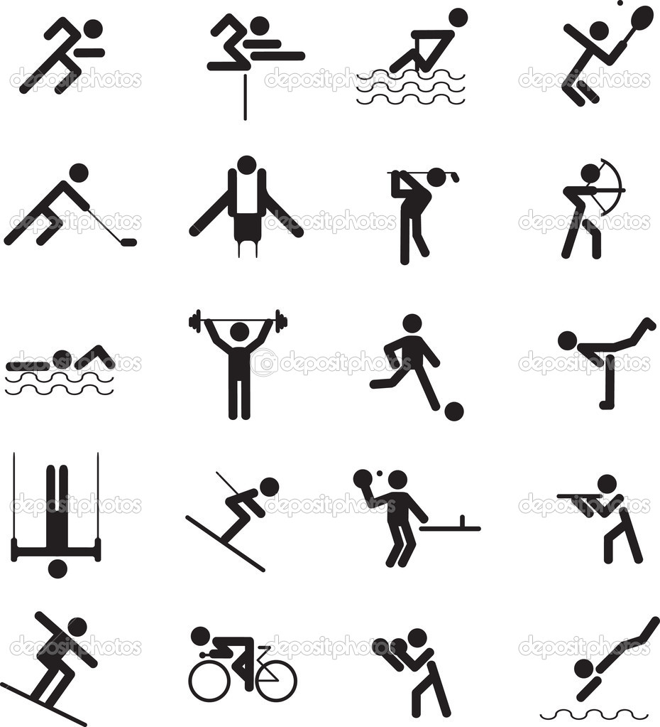 sports figure icon character set in different positions